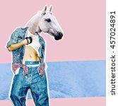 fashion collage magazine. girl... | Shutterstock . vector #457024891