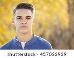 portrait of handsome teen boy... | Shutterstock . vector #457033939