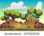 cartoon vector landscape with... | Shutterstock .eps vector #457035925