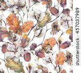 watercolor autumn vintage... | Shutterstock . vector #457037989