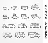 set of camping car icons in... | Shutterstock .eps vector #457038745