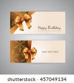 happy birthday golden card | Shutterstock . vector #457049134