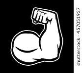 biceps flex arm vector icon | Shutterstock .eps vector #457051927