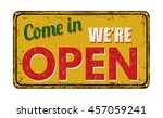 come in we're open on yellow... | Shutterstock .eps vector #457059241