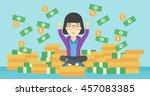 an asian  happy business woman... | Shutterstock .eps vector #457083385