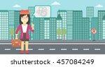 an asian young business woman... | Shutterstock .eps vector #457084249