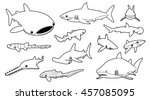 various sharks cartoon vector... | Shutterstock .eps vector #457085095