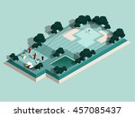 beautiful isometric design of... | Shutterstock .eps vector #457085437