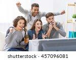 fans of soccer watching match | Shutterstock . vector #457096081