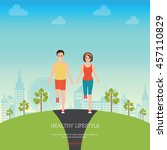 front view of man and woman... | Shutterstock .eps vector #457110829