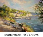 colorful seascape painting  oil ... | Shutterstock . vector #457178995