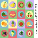 fruits flat set icons with the... | Shutterstock . vector #457181821