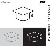 line icon  graduation cap | Shutterstock .eps vector #457187275