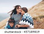 mom with two preteen children... | Shutterstock . vector #457189819