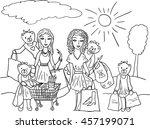 cartoon girls with funny bear... | Shutterstock .eps vector #457199071