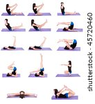 Woman in Multiple Yoga Positions (14 positions on Isolated Background) 1 of 2 - stock photo
