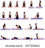 Woman in Multiple Yoga Positions (19 positions on Isolated Background) 2 of 2 - stock photo