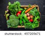 fresh farm harvest in a basket  ...   Shutterstock . vector #457205671