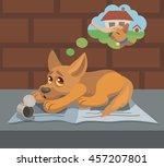Vector Homeless Sad Dog...