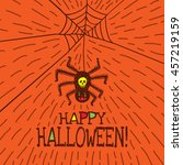 halloween card with hand drawn... | Shutterstock .eps vector #457219159