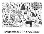 Hand drawn pattern with abstract scandinavian nature elements. Vector set of plants and animals of the forest. | Shutterstock vector #457223839