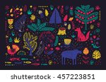 hand drawn pattern with... | Shutterstock .eps vector #457223851
