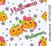 vector background of pumpkins... | Shutterstock .eps vector #457241929