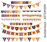 halloween decorations set in... | Shutterstock .eps vector #457249309