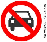 Forbidden Sign With Car Icon...