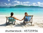 couple on a tropical beach in... | Shutterstock . vector #45725956