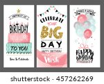 set of birthday greeting cards... | Shutterstock .eps vector #457262269