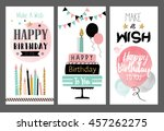 set of birthday greeting cards... | Shutterstock .eps vector #457262275