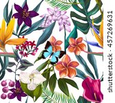 tropical seamless exotic floral ... | Shutterstock . vector #457269631