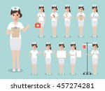 group of female nurses  women... | Shutterstock .eps vector #457274281