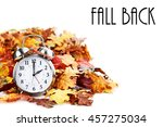 alarm clock in colorful autumn... | Shutterstock . vector #457275034