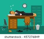 exhausted employee sleeping on... | Shutterstock .eps vector #457276849