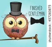 greeting card cute cartoon owl... | Shutterstock . vector #457283875