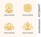 set of four outline icons and... | Shutterstock .eps vector #457286497