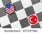Small photo of Draughts (Checkers) - United States vs Turkey - diplomatic, political and military conflict between allies.