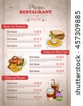 restaurant vertical color menu   Shutterstock .eps vector #457309885