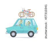 car with bicycle mounted to the ... | Shutterstock .eps vector #457310341