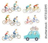 cyclists on bikes set. people... | Shutterstock .eps vector #457310395