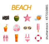 beach flat icon set
