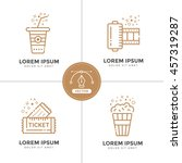 cinema line icons set. vector... | Shutterstock .eps vector #457319287