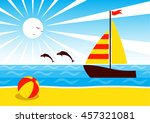 Vector Sailboat Floating On Th...