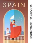 vector retro poster. spain.... | Shutterstock .eps vector #457327045