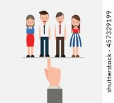 hand pointing to business... | Shutterstock .eps vector #457329199