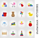 baby toys and accessories flat... | Shutterstock .eps vector #457330381