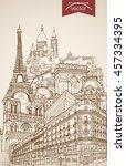engraving vintage hand drawn... | Shutterstock .eps vector #457334395