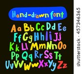 unique handwritten font style ... | Shutterstock .eps vector #457346365